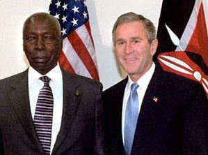 Daniel arap Moi - President Moi with President George W. Bush in New York in 2001.