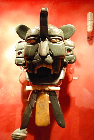 Zapotec civilization - Jade Zapotec warrior's mask from, Monte Alban.