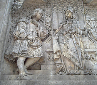 Voyages of Christopher Columbus - Columbus and Queen Isabella. Detail of the Columbus monument in Madrid (1885).