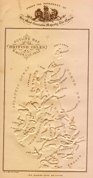 Paper embossing - An embossed map of the British Isles, from William Moon's Light for the Blind, published in 1877.