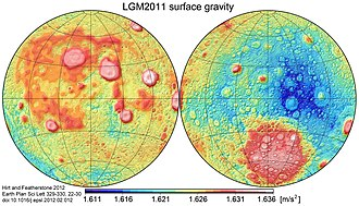 Gravitation of the Moon - Image: Moon gravity acceleration map LGM2011