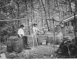 Revenue men at the site of moonshine stills, Kentucky, 1911 or earlier