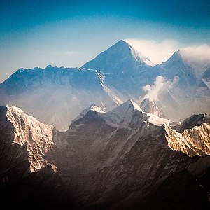 Province No. 1 - Everest and Lhotse from the south. In the foreground are Thamserku, Kantega, and Ama Dablam