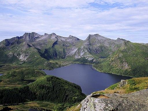 Mount Småtindan and lake Stor-Kongsvatnet seen from Tjeldbergtind - Svolvær, Lofoten, Norway 2019-08-12