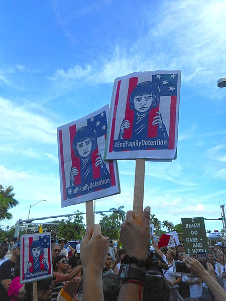 File:Moveon.org Anti Trump Family Separation Protests - Miami Dade College, Miami Florida 06.jpg