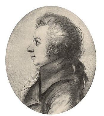 Drawing of Mozart in silverpoint, made by Dora...