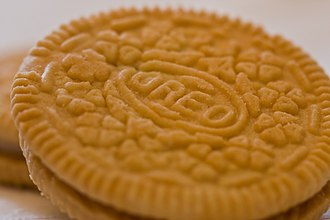 Oreo - Close-up view of a golden Oreo cookie wafer