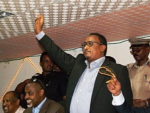 Hassan Mohamed Hussein - Mayor of Mogadishu Hassan Mohamed Hussein at a political rally in 2014.