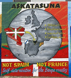 Nationalisms and regionalisms of Spain - An Irish republican mural in Belfast showing solidarity with Basque, Galician, and Catalan nationalism