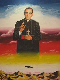 Mural de Óscar Romero en la Facultad de Jurisprudencia y Ciencias Sociales de la Universidad de El Salvador
