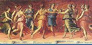 The Muses dancing with Apollo, by Baldassare Peruzzi