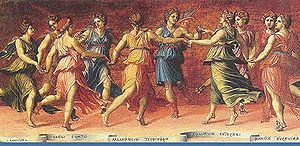 Nine Muses dancing with Apollo, by Baldassare ...