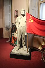 Lenin statue and the Soviet Union flag