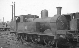 GCR Class 9F - Parker GCR 9F (later N5) 0-6-2T loco 69263, built in 1892, at Langwith Junction engine shed on 7 August 1960. This was one of the last N5 locos to remain operational.