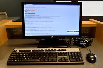 Markham Public Library - A computer terminal in the Markham Village Library