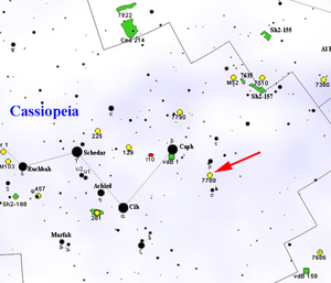 NGC 7789 - Map showing location of NGC 7789