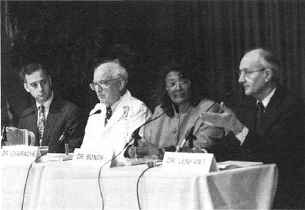 From left: Drs. Michael Terrin, Samuel Charache, Duane Bonds and Claude Lenfant, NHLBI director, announce treatment for sickle cell disease in 1995 NHLBI Announces Treatment for Sickle Cell Disease.jpg