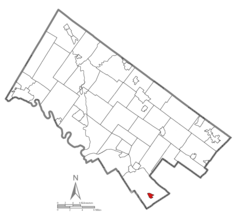 Location of Narberth in Montgomery County, Pennsylvania.