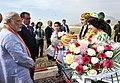 Narendra Modi being welcomed on his arrival at the India-Tajik Friendship Hospital, in Quarghan Teppa, Dushanbe, Tajikistan on July 13, 2015. The President of Tajikistan, Mr. Emomali Rahmon is also seen.jpg