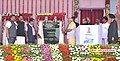 Narendra Modi dedicating 765 kV Solapur - Raichur transmission lines and four laning of Pune - Solapur section of NH-9 to the Nation, at Solapur, Maharashtra. The Governor of Maharashtra, Shri K. Sankaranarayanan.jpg