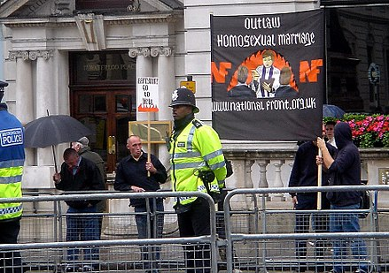 National Front members protesting against growing legal recognition of LGBT rights at the London LGBT Pride march in 2007; the party has tried to protest against various Pride parades National Front protesting at London Gay Pride 2007.jpg