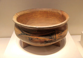 Painted earthenwear basin with fish design.Yangshao Culture,Excavated at a Banpo site in Xi'an