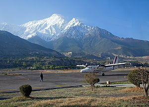 Jomsom Airport - A Nepal Airlines plane at Jomsom airport.