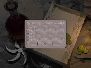 Character race - Race selection screen in Falcon's Eye.