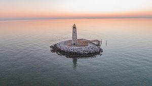 New Point Comfort Light - Aerial View of New Point Comfort Lighthouse, October 2016