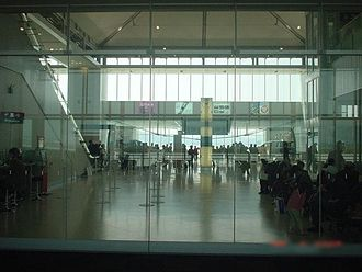 Kitakyushu Airport - Terminal lobby seen from the departure lounge