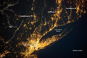 Long Island Sound - Image: New York City, Southern RI and CT, illuminated at night