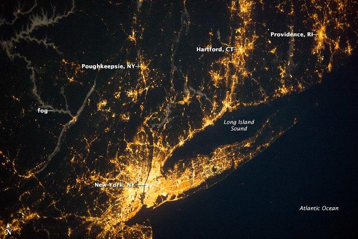 New York City, Southern RI and CT, illuminated at night