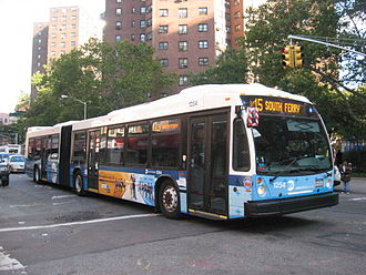 Select Bus Service - An M15 Select Bus Service bus operates through the Lower East Side, bound for South Ferry.