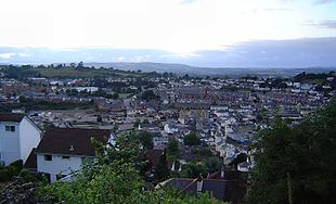 View over central Newton Abbot taken from Wolborough Hill, July 2005