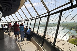 Observation deck - Visitors on the observation deck of the Skylon Tower overlooking Niagara Falls