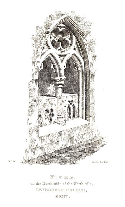 Niche on the North side of the North Aile, Leybourne Church, Kent.jpg
