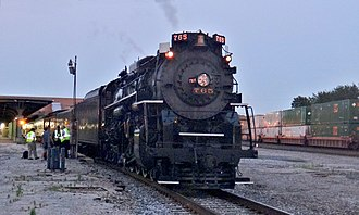 Martin Luther King Jr. Plaza (Toledo) - Nickel Plate Steam Engine No. 765 parked at Martin Luther King Jr. Plaza