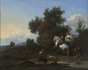 Landscape with an Elegant Hunting Party on a Stag Hunt