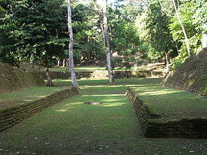 Nim Li Punit - Ballcourt at Nim Li Punit Mayan ruins.