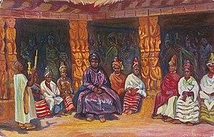 Ibrahim Njoya - A painting of King Njoya and his wives