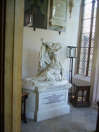 Wetheral - Parish Church: Joseph Nollekens life size sculpture of 'Faith' in memory of Henry Howard's wife Maria (who died in Childbirth).