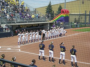 Northwestern Wildcats softball - The 2013 team (in white) before a game against Michigan in Ann Arbor.