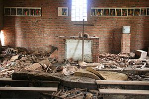 Rwandan genocide - Over 5,000 people seeking refuge in Ntarama church were killed by grenade, machete, rifle, or burnt alive.