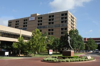 OU Medicine - The Children's Hospital at OU Medical Center as seen from the center of the OUHSC campus.