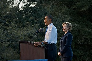 Obama-Clinton rally in Orlando. Barack Obama a...