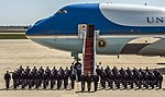 Obama departs JBA, stops to pose for group photo 150504-F-WU507-136.jpg