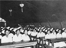 Nurses At Okinawa Central Hospital Nursing School In 1946