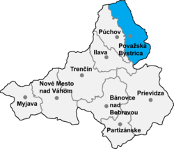 Location of Považska Bistricas apriņķis