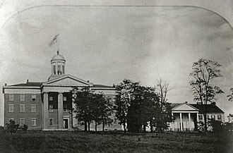 """Old Main (Washington & Jefferson College) - The """"New College"""" around 1850.  McMillan Hall is visible on the right."""