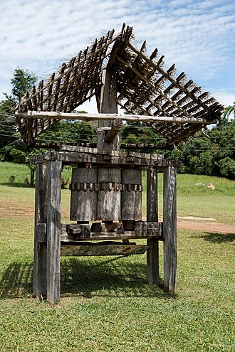 Sugar cane mill - Old wood sugarcane press in Goiás, Brazil